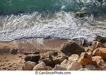 pierres, lavage, il, grand, vagues, plage, sablonneux