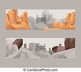 pierres, lourd, style, ensemble, naturel, bâtiment, plat, isométrique, material., différent, rochers, banners., forme, production, vecteur, galets, illustration., color., dessin animé, 3d