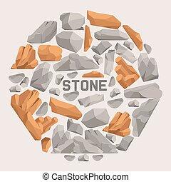 pierres, lourd, style, ensemble, naturel, illustration., montagne, banner., isométrique, material., différent, rochers, forme, vecteur, plat, galets, rocher, rugueux, color., dessin animé, 3d