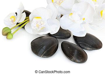 pierres, masage, orchidée