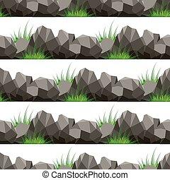 pierres, modèle, herbe, seamless, dessin animé