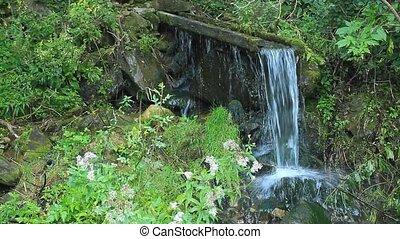 pierres, montagne, eau claire, fluxs