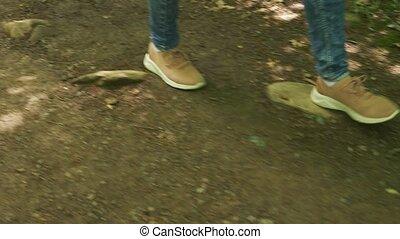 pierres, montagne, lent, steadicam, personnel, jambes, moussu, prise vue., arbre, mouvement, vue, forêt, par, perspective, femme, mouillé, aller, espadrilles, racines, 4k
