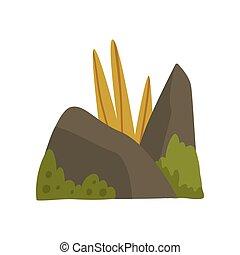 pierres, montagne, naturel, illustration, élément, herbe, forêt, vecteur, conception, mousse, rocher, paysage