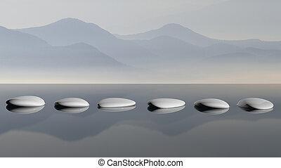 pierres, montagne, scénique, zen, eau lac, réflexions, vue