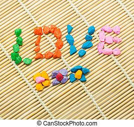 pierres, mot, amour, spelled, coloré