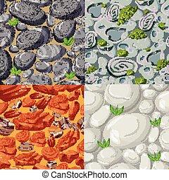 pierres, motifs, ensemble, dessin animé, seamless