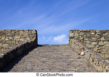 pierres, mouches, ciel, directement, route