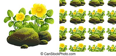 pierres, mousse, seamless, jaune, conception, fond, fleurs
