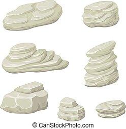 pierres, nature, rochers, vector., rocher, dessin animé, pierre