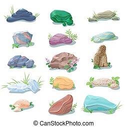 pierres, naturel, collection, galets, dessin animé