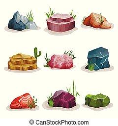 pierres, naturel, coloré, ensemble, galets, élément, herbe, vecteur, conception, fond, rocher, illustrations, blanc, paysage