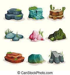 pierres, naturel, ensemble, galets, élément, herbe, vecteur, conception, fond, rocher, illustrations, blanc, paysage