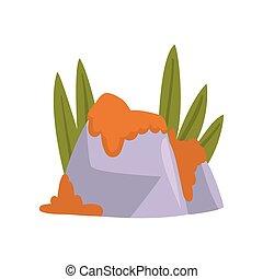 pierres, naturel, illustration, élément, herbe, vecteur, vert, mousse, rocher, orange, conception, paysage