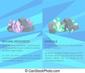pierres, naturel, minéraux, ressources, rochers