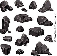 pierres, noir, rochers