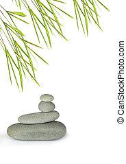 pierres, parfait, feuille, sur, gris, herbe, arrière-plan., traitement, spa, bambou, équilibre, blanc