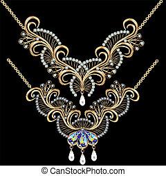 pierres, perles, illustration, mariage, fond, collier, noir, précieux, femmes