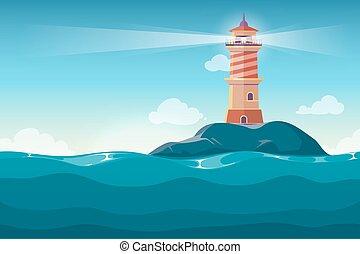 pierres, phare, île, vecteur, fond, rocher, dessin animé
