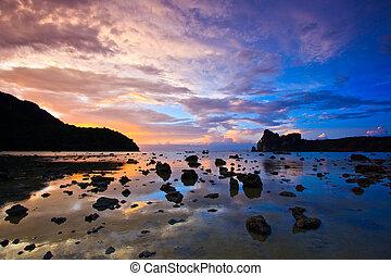 pierres, phi, île, coucher soleil, mer, thaïlande