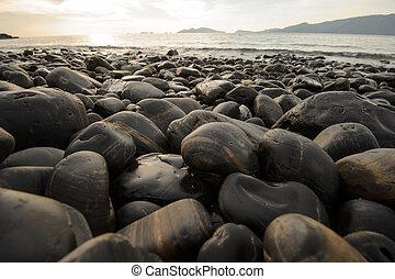 pierres, plage, image, coucher soleil