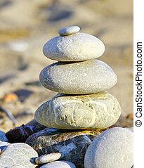 pierres, plage, pile