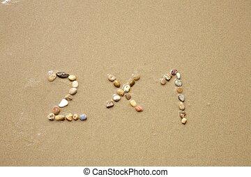 pierres, plage sable, deux, une