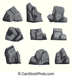 pierres, plat, différent, ensemble, gray., nuances, isolé, formes, lumières, vecteur, conception, paysage, shadows., rocher, blanc, éléments