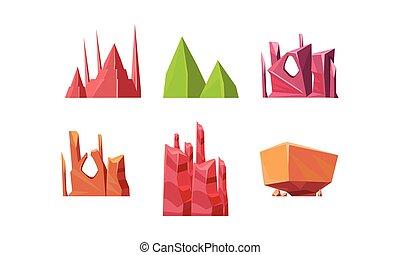 pierres, plat, différent, ensemble, naturel, créer, shapes., jeu, vecteur, vidéo, fond, éléments, paysage