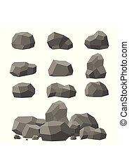 pierres, plat, isométrique, ensemble, arrière-plan., ensemble, ou, différent, rochers, entassé, unique, boulders., blanc, style., 3d