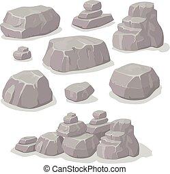 pierres, plat, isométrique, ensemble, ensemble, différent, vecteur, dessin animé, formes, style, rocher, pierres, conception, éléments
