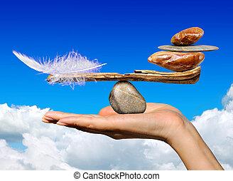 pierres, plume oiseau, équilibre