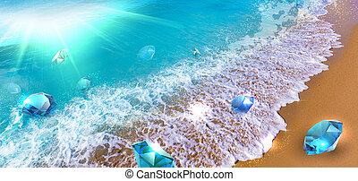 pierres, précieux, flotter, vague