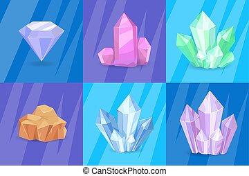 pierres, précieux, vecteur, minéraux, illustration