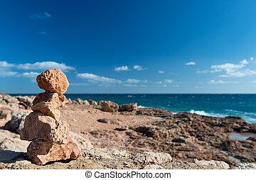 pierres, projection, empilé, manière