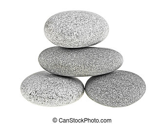 pierres, pyramide, isolé, fond, spa, blanc