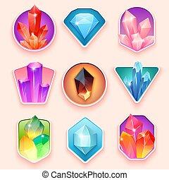 pierres, quartz, magie, semi, coloré, collection., bijou, ensemble, crystals., insignes, cristallisation, gemstone., naturel, précieux, cristallin, ou, pierreux, minéral