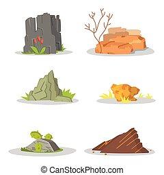 pierres, rocher, ensemble, art, jardin, damage., unique, illustration, rochers, entassé, jeu, vecteur, architecture, ou, design.