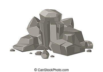 pierres, rocher, nature, isolé, rochers, vecteur, dessin animé