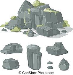 pierres, rocher, nature, rochers, vecteur, mousse, herbe, dessin animé
