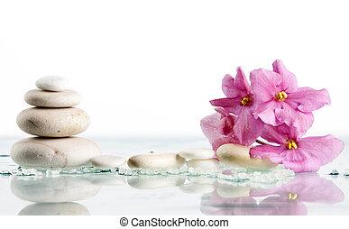 pierres, rose, fleur blanche, spa