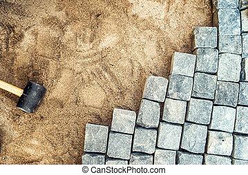 pierres, sable, pose, installation, trottoir, construction, rocks., granit, confection, outils, détails