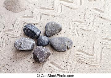 pierres, sable, zen jardin