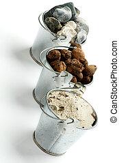 pierres, seaux, gravier, trois, sable