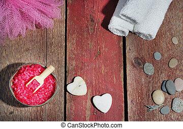 pierres, sel, ensemble, formulaire, bois, bain, fond, rouges...