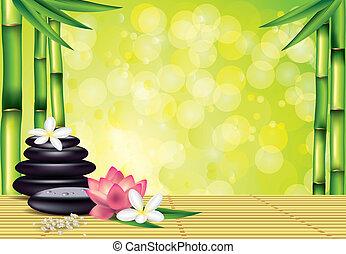 pierres, spa, bambou, fleurs, fond