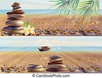 pierres, spa, bannières horizontales, masage