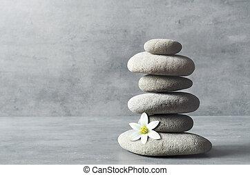 pierres, spa, concept., zen, balance.