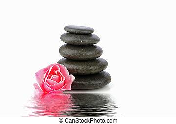 pierres, spa, concept, zen, fleur