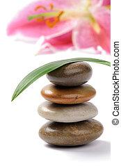 pierres, spa, empilé